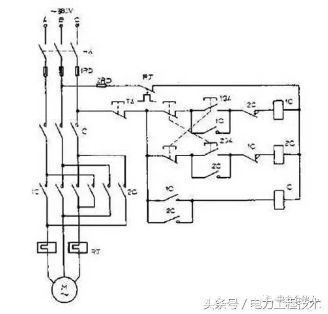 电动机两地控制电路 电动机全波能耗制动电路 定子窜电阻降压启动