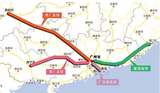 贵广高速铁路示意图